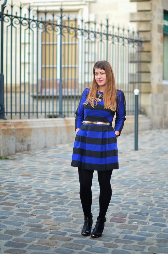 robe zara rayures bleu noir