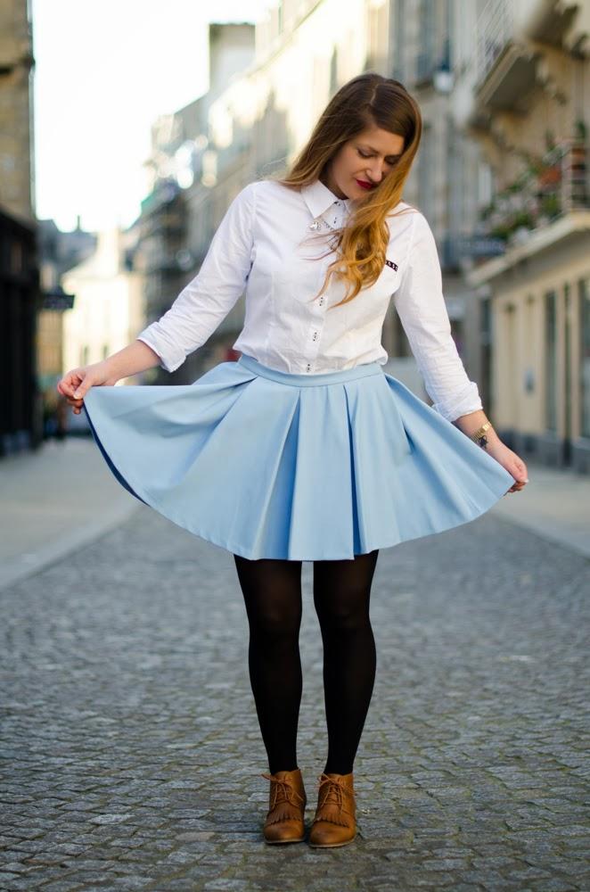 jupe patineuse bleu ciel zara