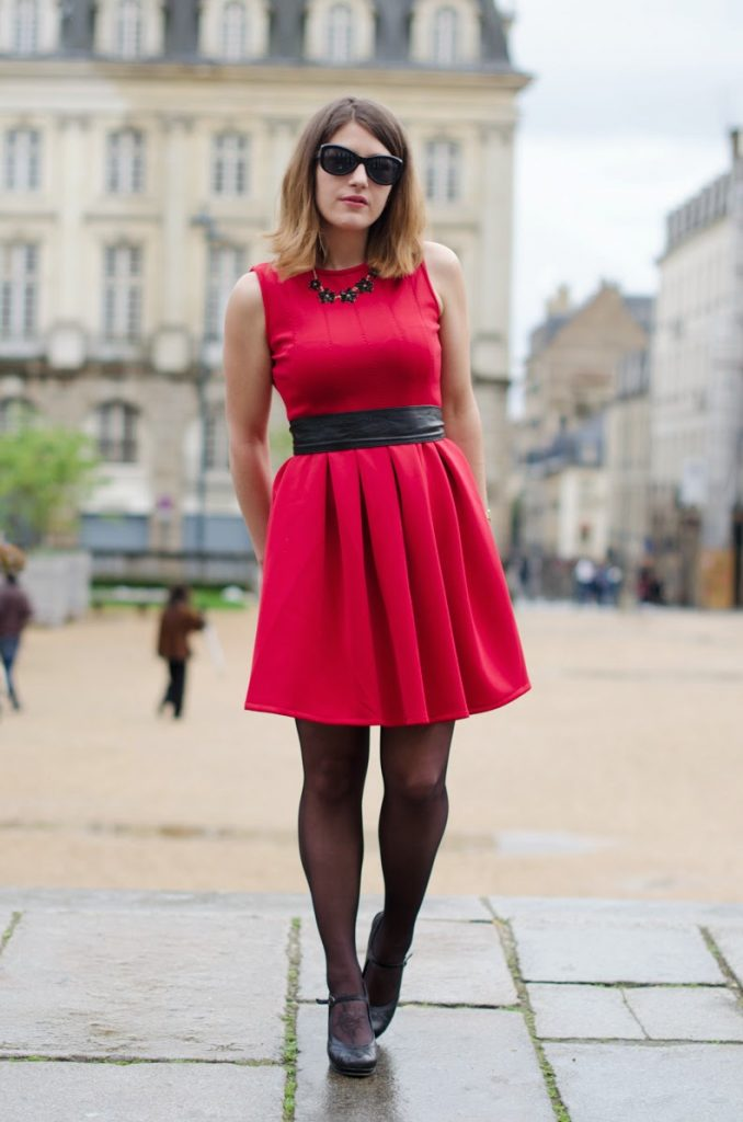 robe rouge patineuse zalando