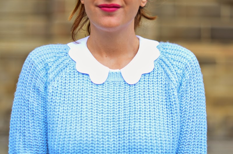 pull bleu ciel femme collants plumetis