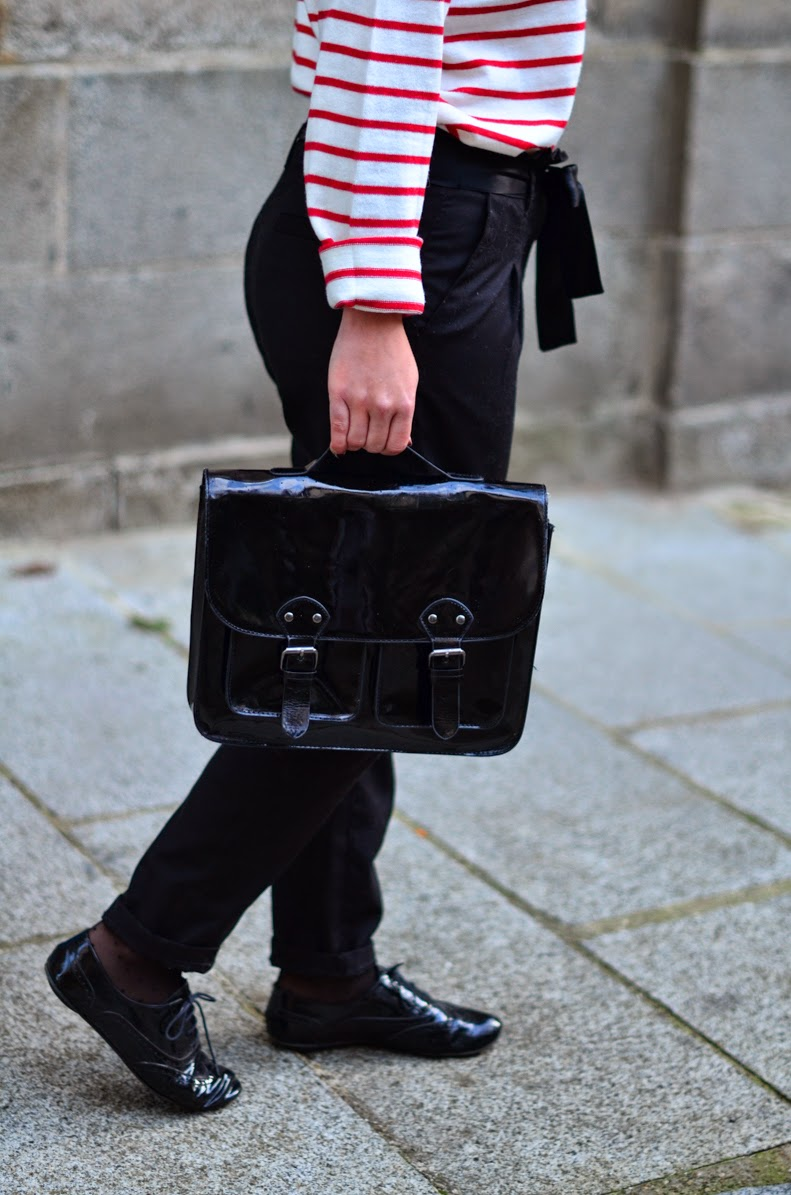 sac cartable vernis noir