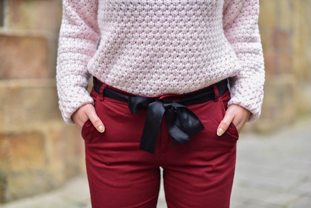 pantalon bordeaux femme