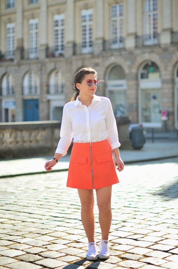jupe orange retro asos