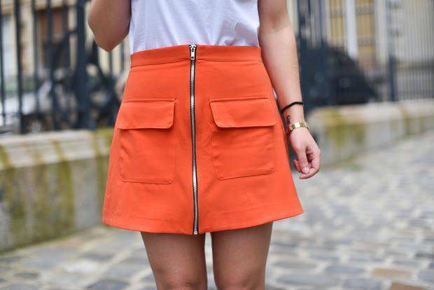 jupe orange retro boohoo