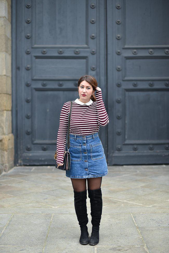 mariniere et jupe en jean femme