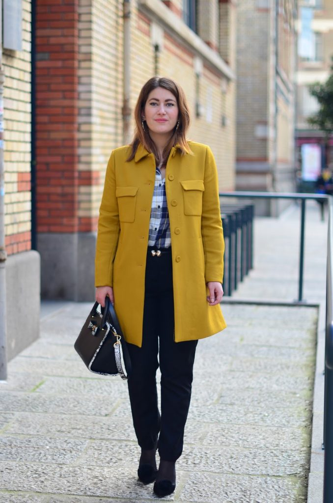 manteau moutarde retro