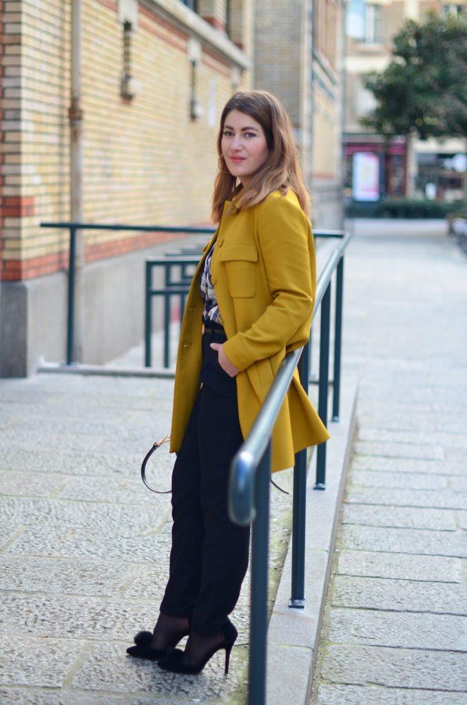 manteau moutarde retro