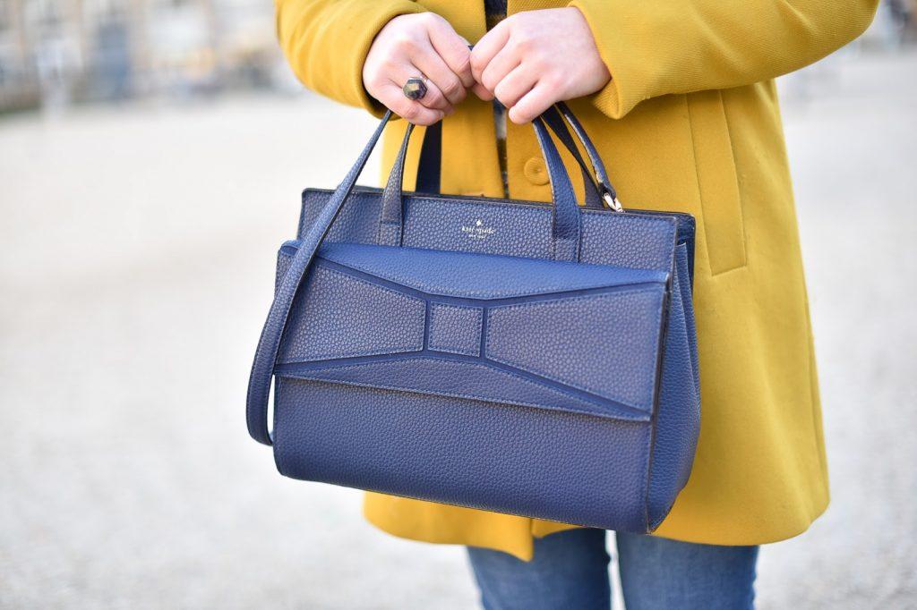 sac kate spade bleu avec noeud