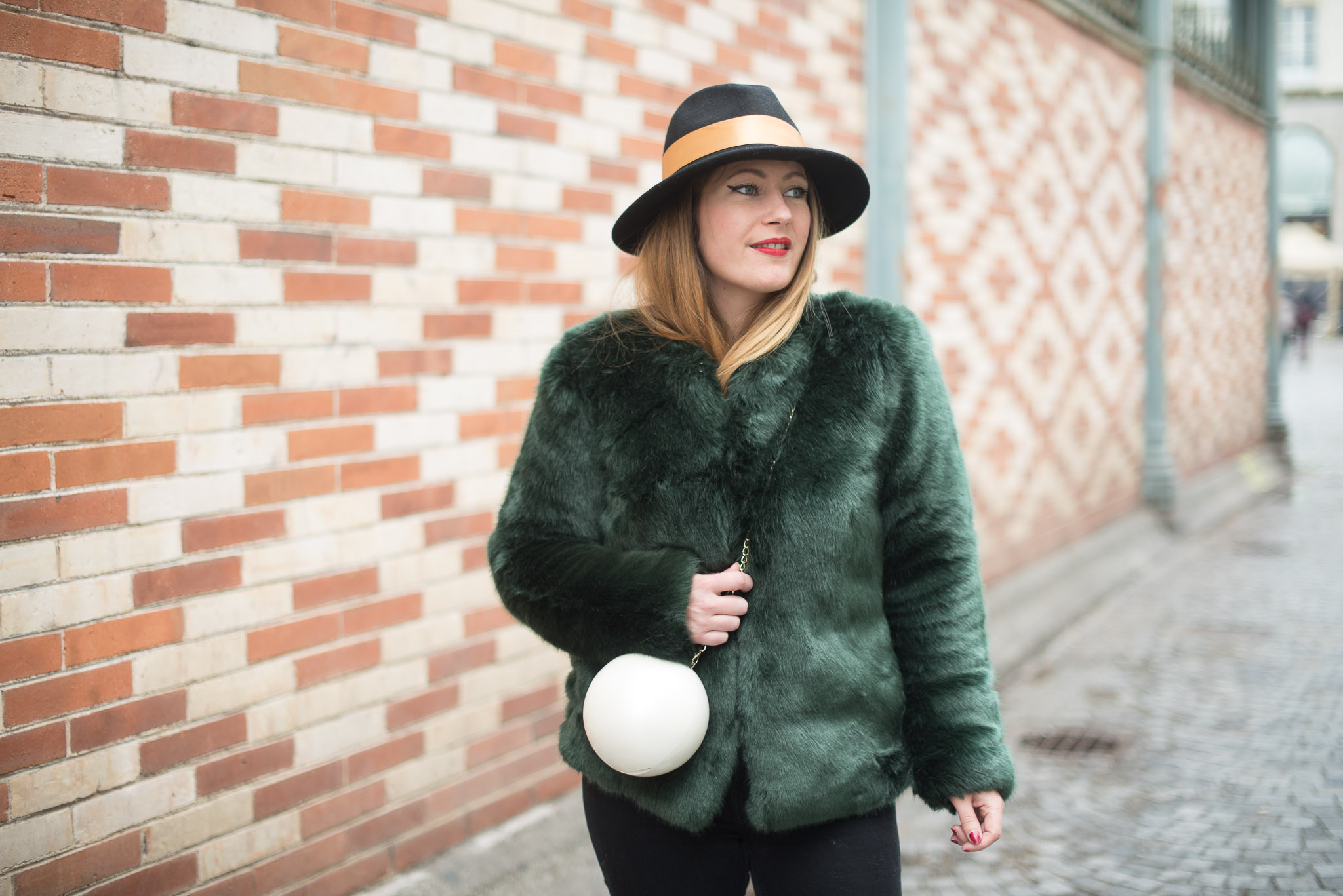 manteau fausse fourrure verte