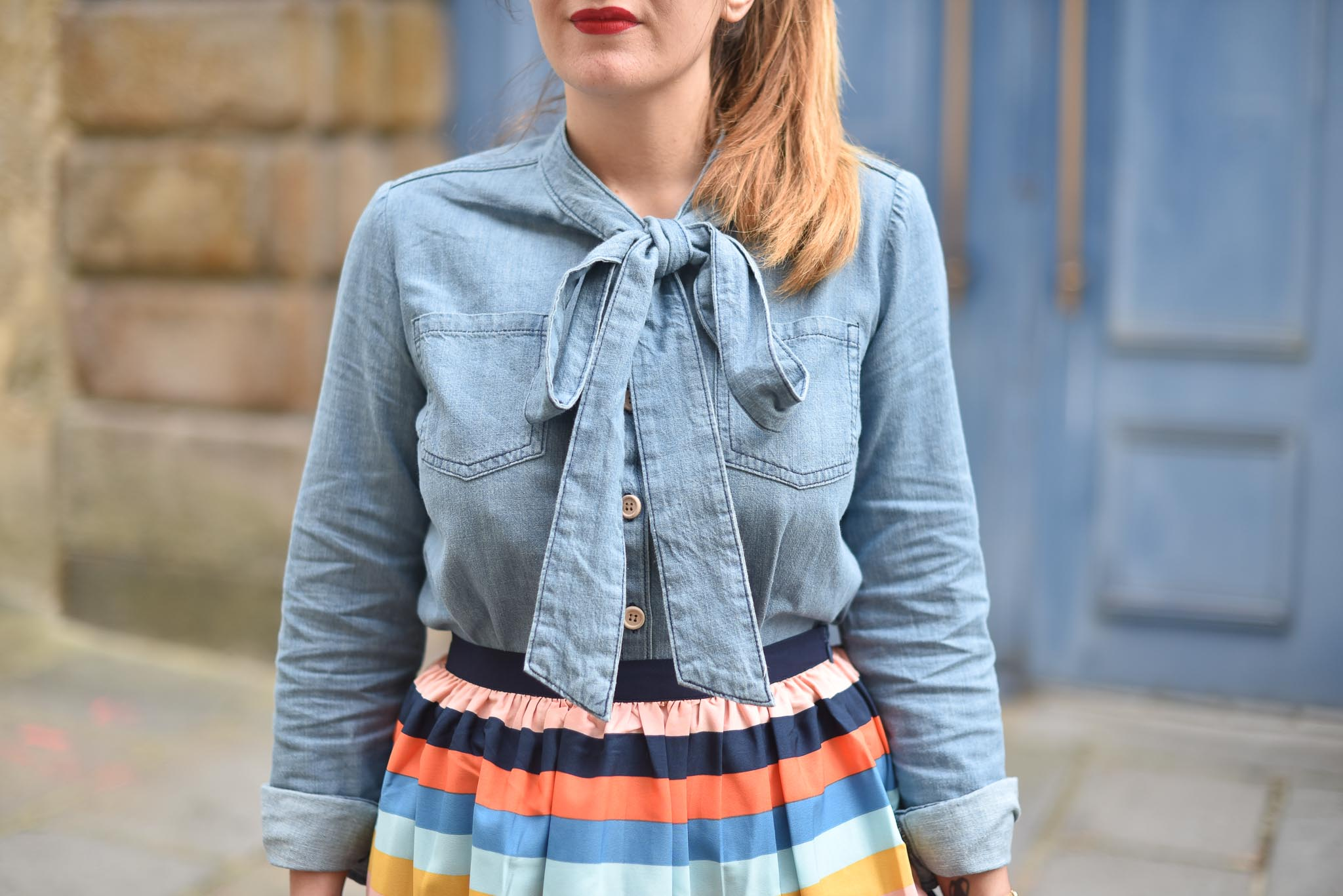 chemise en jean noeud joanie clothing