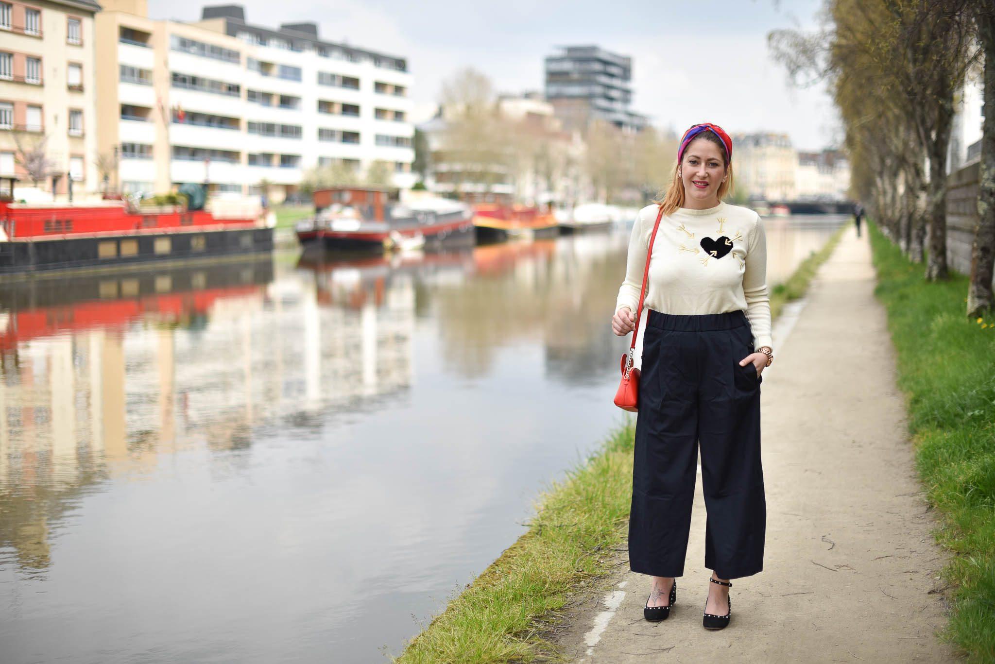 pantalon large femme mango