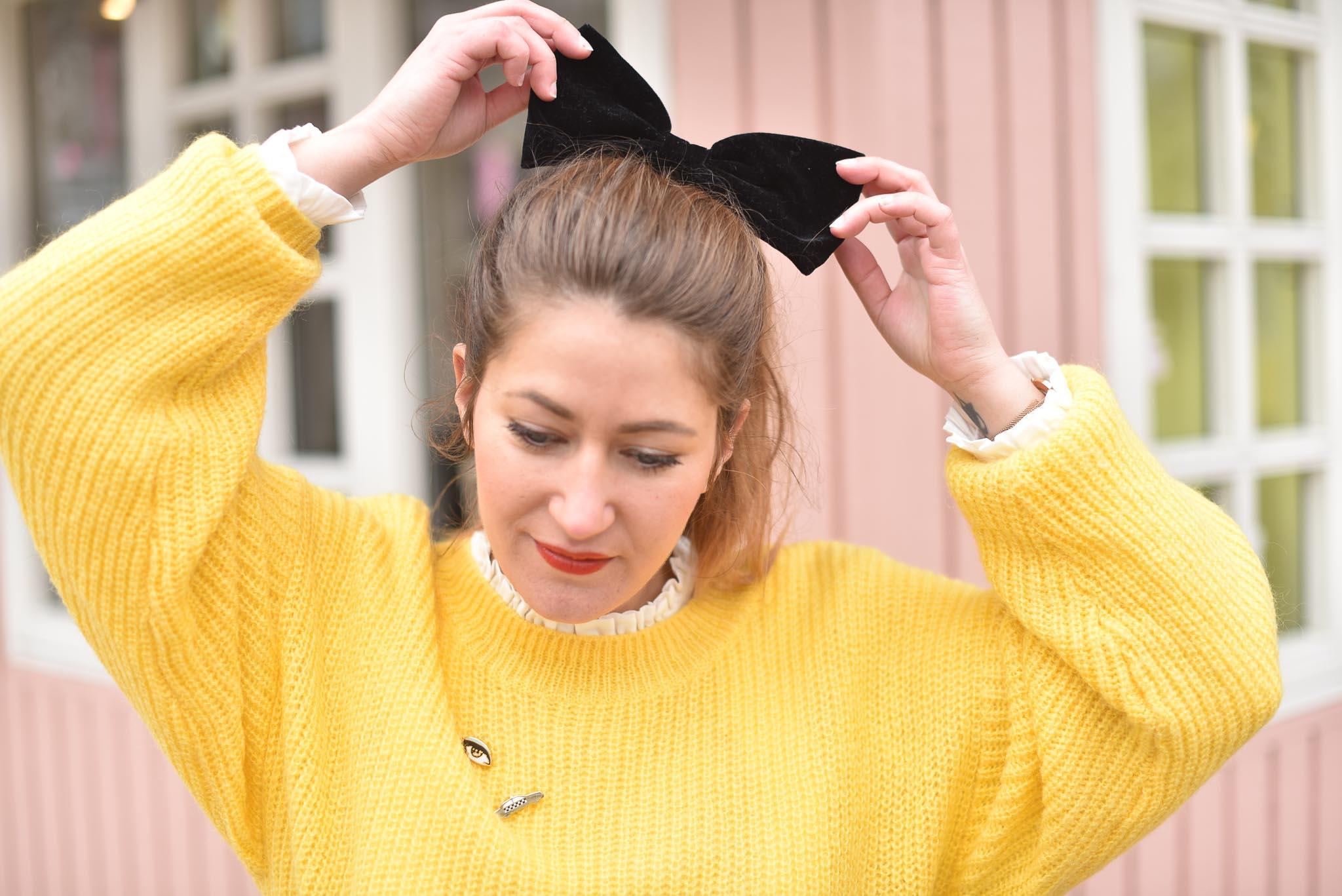 noeud velours headband femme