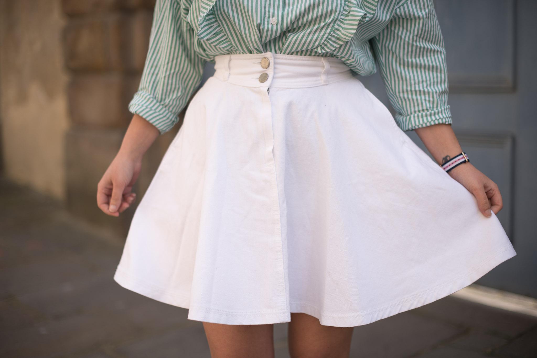 jupe jean blanche maje