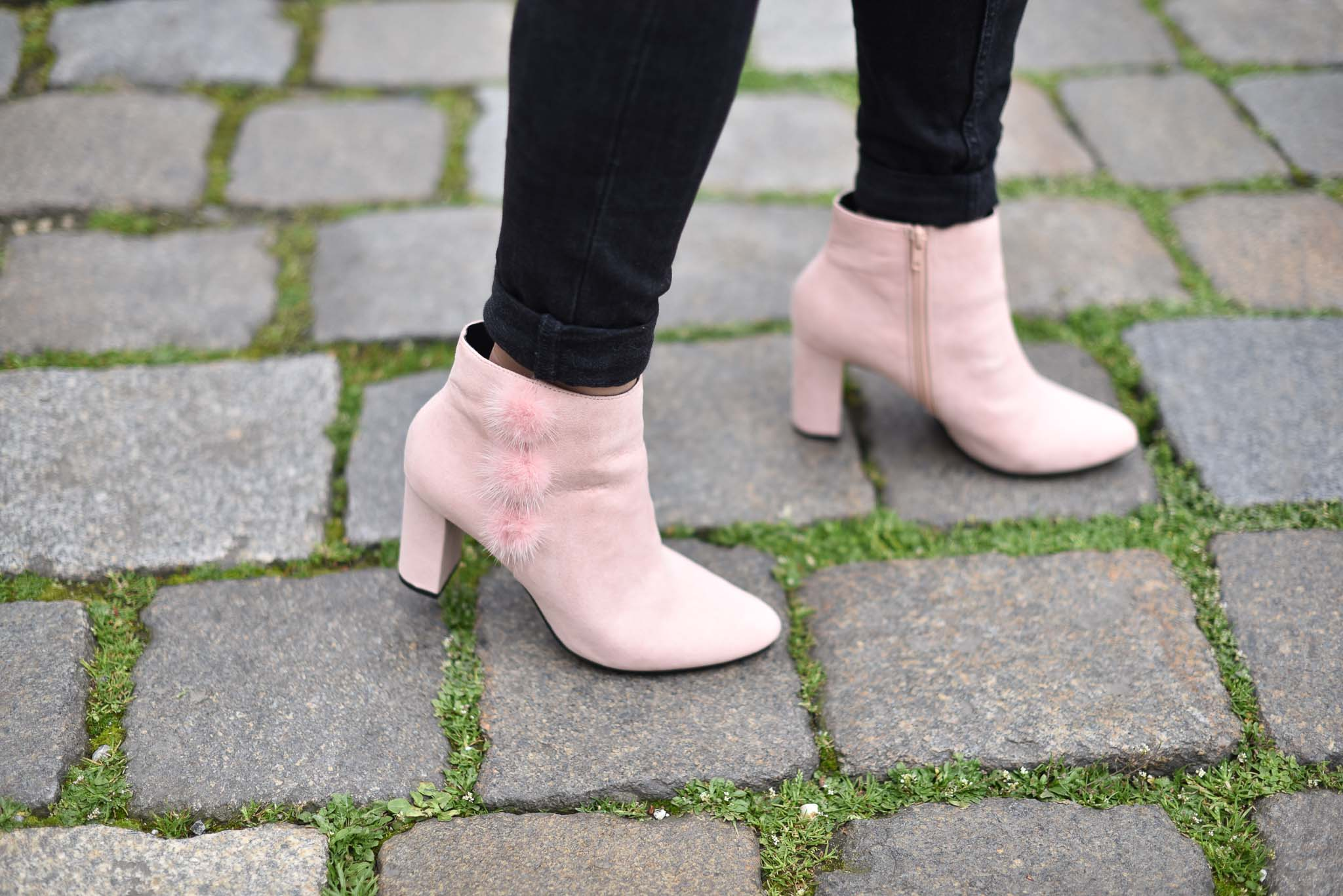 bottines roses pompon eram