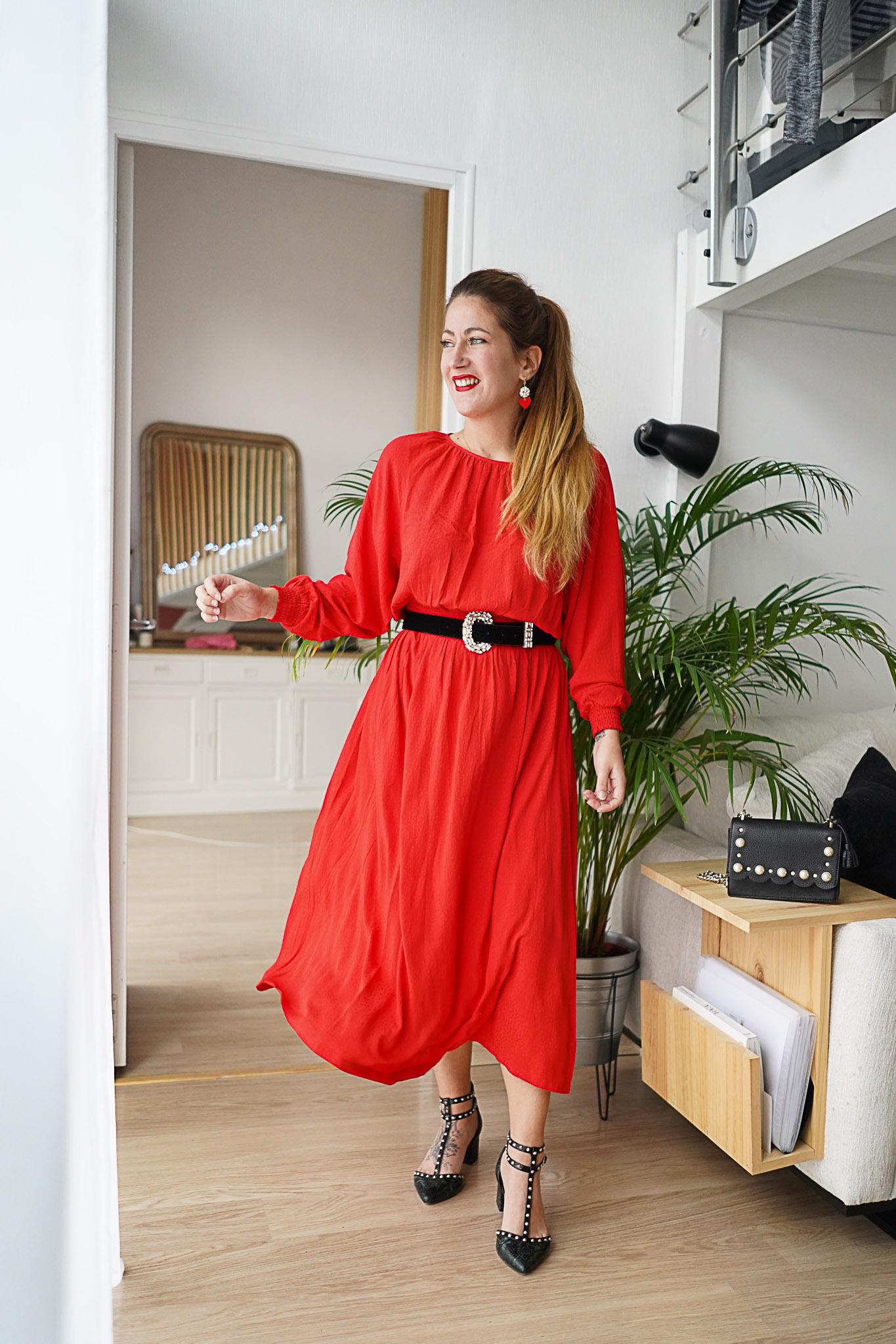 robe longue rouge